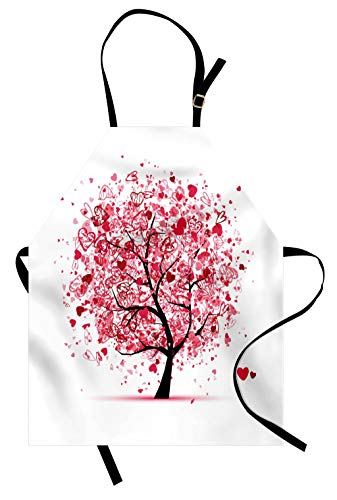 Lunarable Tree of Life Apron, Ornate Valentine Tree with Swirled Hearts and Doodles in Love Future Couple, Unisex Kitchen Bib with Adjustable Neck for Cooking Gardening, Adult Size, White Pink