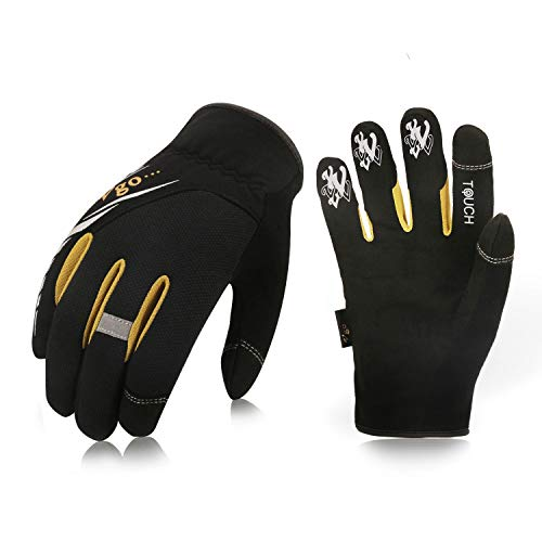 Vgo 3Pairs High Dexterity Light Duty Mechanic Glove,Rigger Glove,Anti-abrasion,Touchscreen(Size XXL,Black,SL8853)