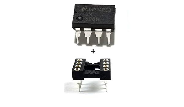 Semiconductor Nacional LM308 N IC amplificador operacional y 8 pines DIP socket con mecanizado Contacto Pins (Pack de 1): Amazon.es: Amazon.es