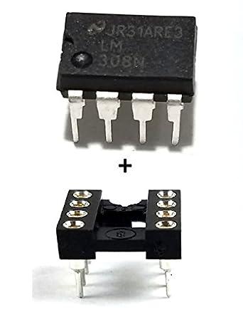 Semiconductor Nacional LM308 N IC amplificador operacional y 8 pines DIP socket con mecanizado Contacto Pins
