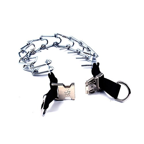 Yusnepet Ultra Dog Prong Pinch Training Collar, Chrome-Plated with Quick Release for Large Dogs, 6mm21'