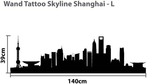 WTD Skyline Shanghai L - 140 cm x 39 cm - tatuaje Duvar - 23 ...
