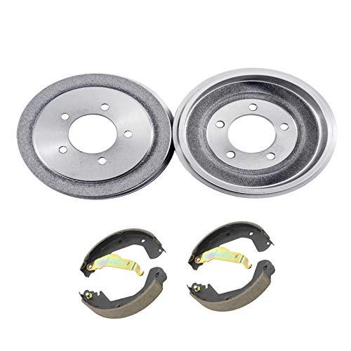 (Detroit Axle - Pair (2) Rear Brake Drums w/Ceramic Brake Shoes w/Hardware for 2000 2001 2002 2003 2004 2005 Toyota Celica)