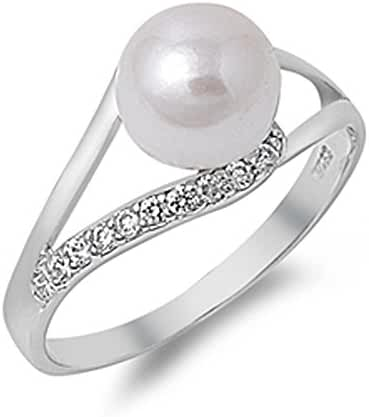 Sterling Silver Freshwater Cultured Pearl & CZ Ladies Ring 11mm ( Size 5 to 10 )