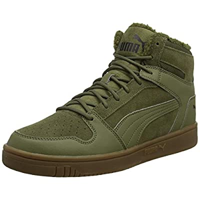 Puma Unisex Adults Rebound Layup SD Fur Trainers, Green (Burnt Olive Black-Gum 03), 6.5 (40 EU) | Fashion Sneakers