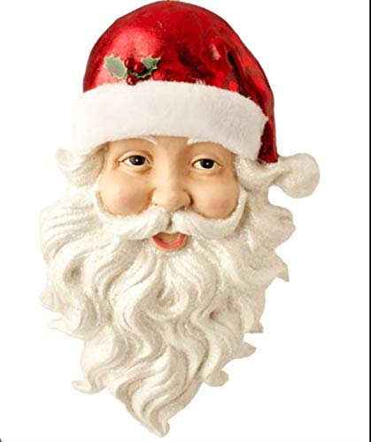 Claus Santa Wall (RAZ Imports Jolly Santa Claus Face with Glittered Beard Christmas Wall Hanging Plaque, 17.5 inch x 14 inch)