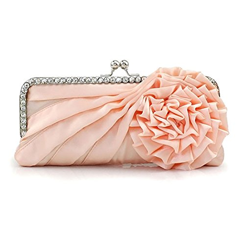 (Womens Silk Pleated Satin Evening Handbag Floral Flower Clutch Bag with Rhinestone for Wedding Prom Party (Champagne))