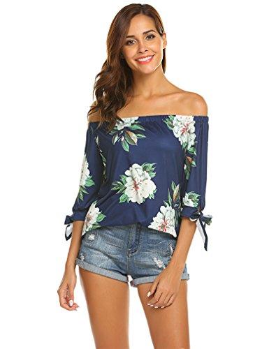- Qearal Women Off Shoulder Blouses 3/4 Sleeve Floral Print Tops (Blue, L)