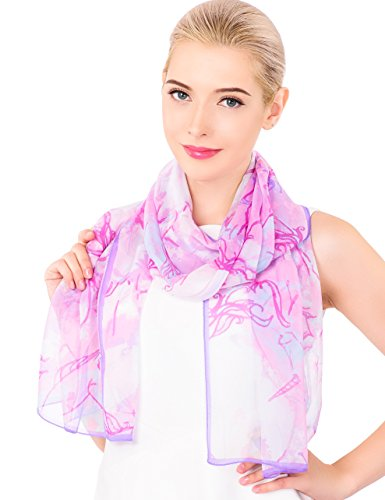 - Ideal Gift for Women 100% Silk Floral Scarf Evening Wrap Wedding Shawl Gift Box (Light Purple)