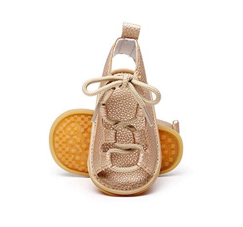 Isbasic Baby Boys Girls Summer Roman Sandals Shoes (0-6 months, gold) ()