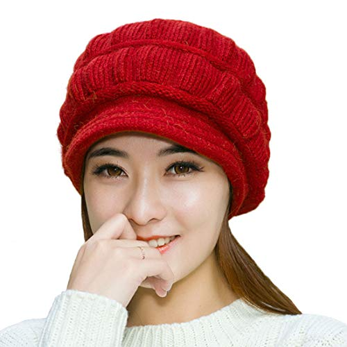 Muryobao Winter Hat Crochet Knit Slouchy Beanie Cap Outdoor Warm Snow Ski Knitted Hats with Visor for Women Red ()