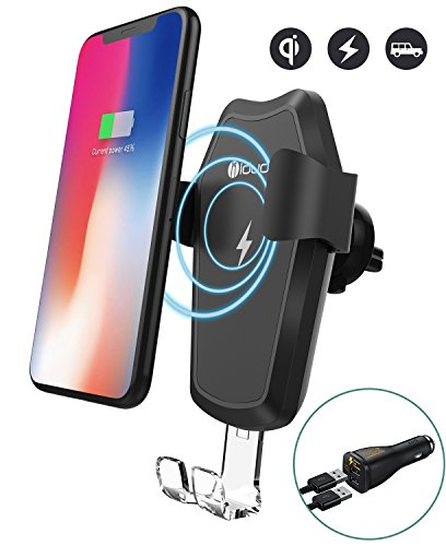 iDudu Wireless Car Charger Mount for iPhone X iPhone 8 8 Plus, Gravity Car Phone Mount Holder with Fast Charging for Samsung GalaxyS9 S9 Plus Note 8 S8 S8 Plus S7 S7 Edge S6 Edge Plus Note 5 (Black) by idudu