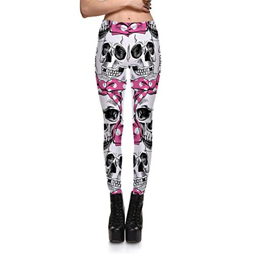 M-ONEZOU Halloween Cosply Ghost Face Print Black Womens Legging S to 4XL Skull Pink Floral White Legins Full Length Rose Red -