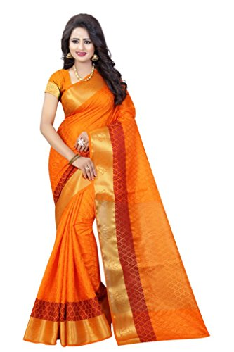 Eleglancekey Emboss Tussar Silk Woven & Zari Border Women's Saree With Unstitched Blouse Piece by Eleglancekey (Image #1)