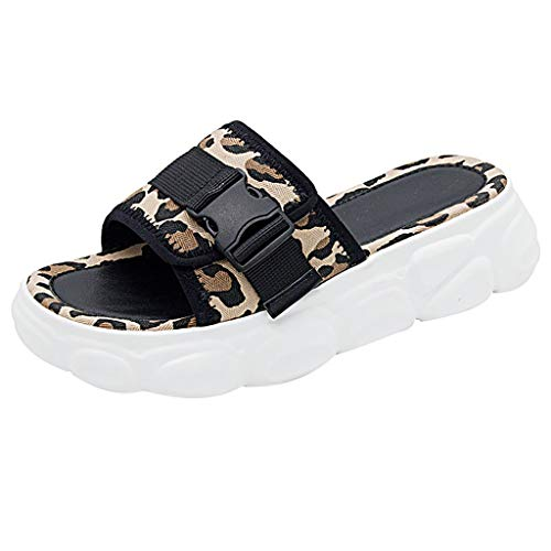 JJHAEVDY Women's Leopard Print Open Toe Slip On Sandals Comfort Casual Platform Sandal Flat Adjustable Buckles Slippers