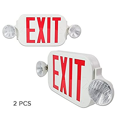 eTopLighting LED Red Exit Sign Emergency Light Combo with Battery Back Up UL924 ETL listed, Red Lettering in White Body, Bug Eye Side Light, AGG1072, AGG2193, AGG2194