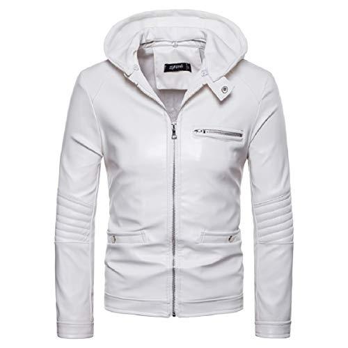 Fieer Mens Full-Zip Fake Two Outwear Coat PU Motorcycle Hooded Jacket White XL