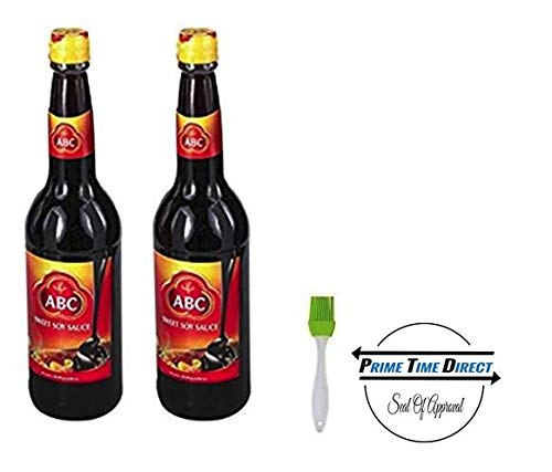 ABC Sweet Soy Sauce 20.9 oz (Pack of 2) with Silicone Basting Brush in Prime Time Direct Sealed - Soy Sauce Sweet Soy