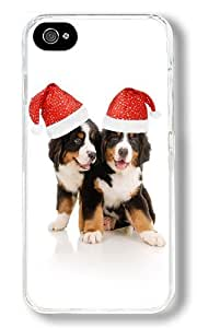 Christmas Puppies Custom iPhone 4S Case Back Cover, Snap-on Shell Case Polycarbonate PC Plastic Hard Case Transparent