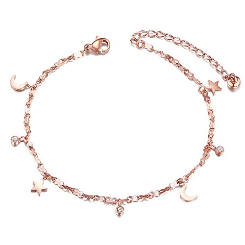 SHEGRACE Star Chain Charms Anklet Bracelet Foot Jewelry, with Mini Moons & Round ()