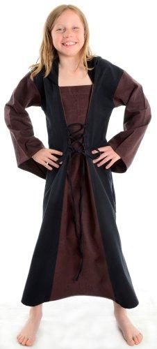 Schwarz Braun braun Mädchenkleid Kinder Gugel XL Kleider schwarz mit XS Kleid Mittelalter PawqvFxTB