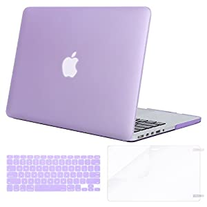 Mosiso Plastic Hard Case with Keyboard Cover with Screen Protector Only for MacBook Pro Retina 13 Inch No CD-Rom (A1502/A1425, Version 2015/2014/2013/end 2012), Light Purple