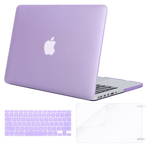 MOSISO Case Only Compatible MacBook Pro (W/O USB-C) Retina 13 Inch (A1502/A1425)(W/O CD-ROM) Release 2015/2014/2013/end 2012 Plastic Hard Shell & Keyboard Cover & Screen Protector, Light Purple