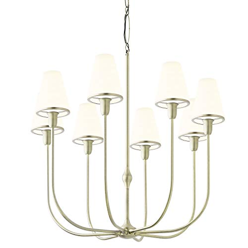 Brass Chandelier with Glass Shades - 8 Light Candelabra Ceiling Fixture, White Opal Shade, Damp Located, Dimmable, ETL Listed, Arden Collection by Brooklyn Bulb Co.