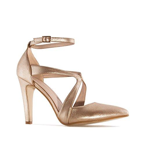 Andres Machado Damen Pumps - Gold Schuhe in Übergrößen