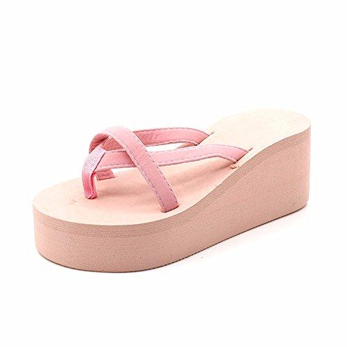 Alto Pink YUCH con De La Sandalias Tacón Zapatillas Mujer vPwP7qYg1