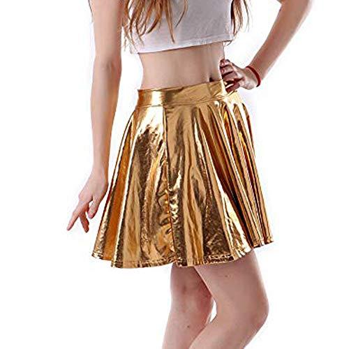 Pliegues Imitación Vestido Mini Lápiz ♡♡fanny Mujer Funny♡ line Baile Cintura Sexy Cremallera Corto Ropa Falda Oro Delgado Cuero A De Alta Con zwqp4Z