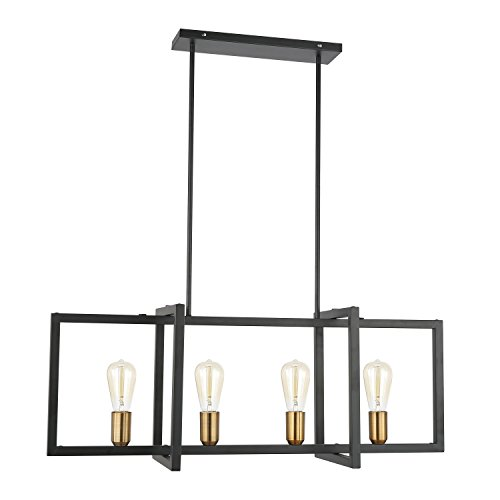 Light Society Paradigm 4-Light Kitchen Island Pendant, Matte Black with Antique Brass Finish, Geometric Modern Industrial Chandelier (LS-C249-BK) ()
