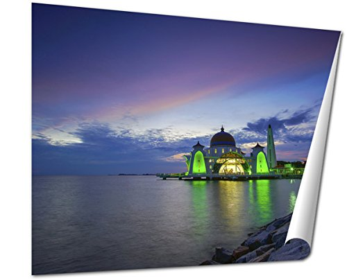 Ashley Giclee Majestic View Of Malacca Straits Mosque During Sunset Fine Art Decoration for kitchen, living room, home office, den or bedroom, ready to frame, 24x30 Print by Ashley Giclee