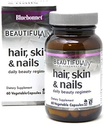 Bluebonnet Nutrition Beautiful Ally Hair, Skin & Nails, Hydrolyzed Collagen from Grass Fed Cows, Collagen Peptides Type 1 & 3, Non GMO, Gluten Free, Soy Free, Milk Free, Kosher, 60 Vegetable Capsules
