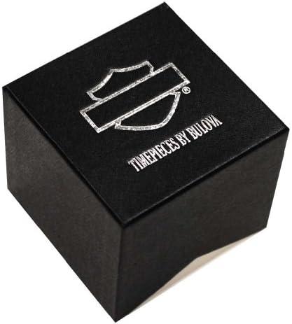 Harley-Davidson Men s Bar Shield Script Watch, Stainless Steel, Black 78A116