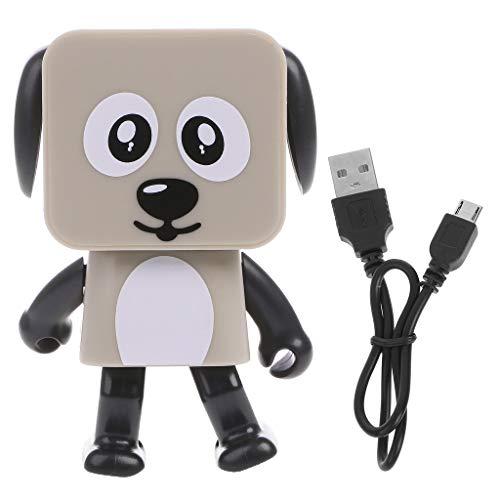 (Vegan 1pc Mini Bluetooth Portable Smart Dancing Robot Music Dog Speaker, Wireless Robot Gift for Kids Black White Red Beige)