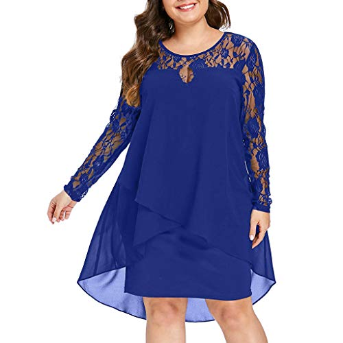 (Todaies Fashion Women Casual Plus Size Sheer Lace Sleeve High Low Hem O-Neck Swing Dress)