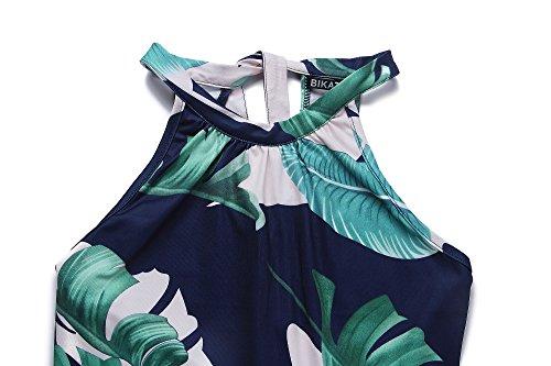 Summer Sundress Off Sleeveless Shoulder Women's Floral1 Dress BIKATU Halter Casual 7n80fnq