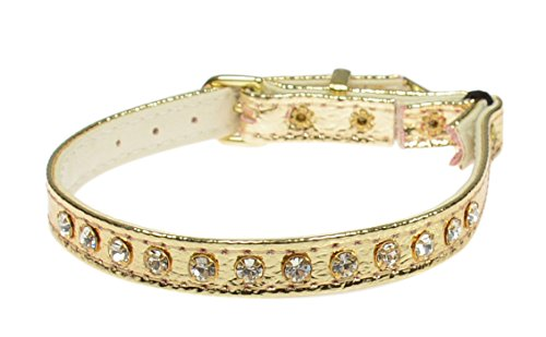Jeweled Cat Safety Collar - Evans Collars Jeweled Cat Safety Collar with Elastic, Size 12, Vinyl, Gold
