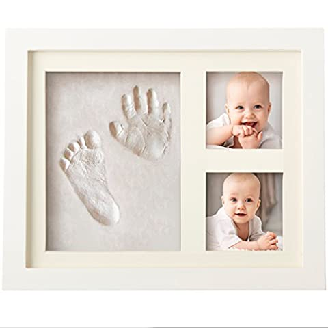 BEST BABY HAND & FOOTPRINT PICTURE FRAME KIT for Boys and Girls, Cool & Unique Baby Shower Gifts for Registry, Memorable Keepsakes Decorations for Room Wall or Table Decor, Premium Clay & Wood Frame