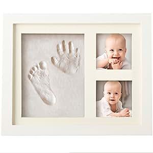 Bubzi Co - Kit de marco de huellas de mano y pie de bebé para niño y niña, regalos originales y únicos para la fiesta de bienvenida del bebé, decoraciones de pared o mesa con recuerdos memorables