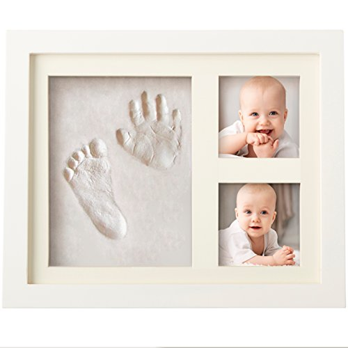 Bubzi Co Baby Clay Handprint & Footprint Photo Frame Kit for Newborn Girls and Boys, Unique Baby Shower Gifts Set for Registry, Memorable Keepsake Box Decorations for Room Wall or Nursery Decor Fingerprint Christmas Lights Poem