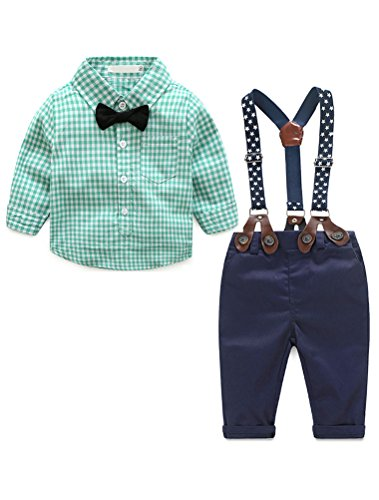 Baby Boys Gentleman Long Sleeves Plaid Bowtie Romper Suspenders Shorts Two-Piece Set Green - Clothes Easter