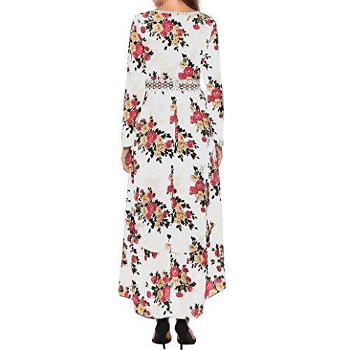 Longues V Maxi Plage de Imprim Fleur Longue Femme Manches Chic Col Robes Robe Blanc Bringbring xRqZTYwvgY