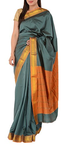 Skirts N Scarves Women's Artificial Silk Sari With Blouse Piece (Greyish Blue) - Net Sarees In India