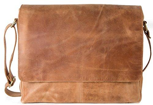 HOLZRICHTER Berlin - Premium Umhängetasche (M) aus Leder - Handgefertigte Messenger Bag im Vintage Design - Ledertasche für Herren und Damen - camel-braun Camel iMLrC