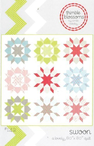 Swoon Quilt Pattern, Fat Quarter Friendly, 24 Inch Blocks, 80 Inch Square Finished Size Friendly Quilt Pattern