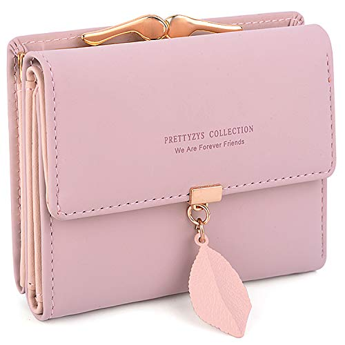 (UTO Small Wallet for Women PU Leather Leaf Pendant Card Holder Organizer Coin Purse A Pink)