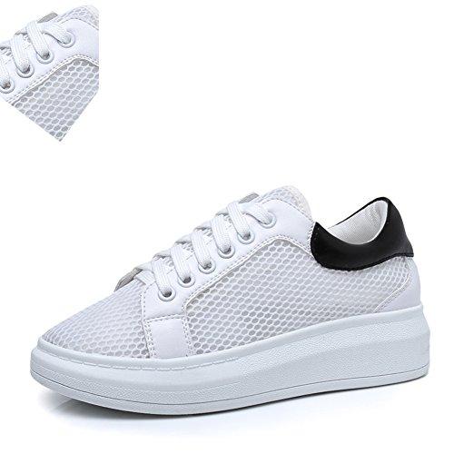 Malla Blanca Sandalias,Zapatos Deportivos De Suela Gruesa Y Ocio,Blanco Con Zapatos Planos Negro