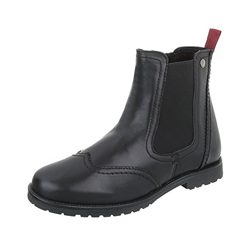Ital-Design Chelsea Boots Leder Damenschuhe Chelsea Boots Blockabsatz Blockabsatz Reißverschluss Stiefeletten Schwarz